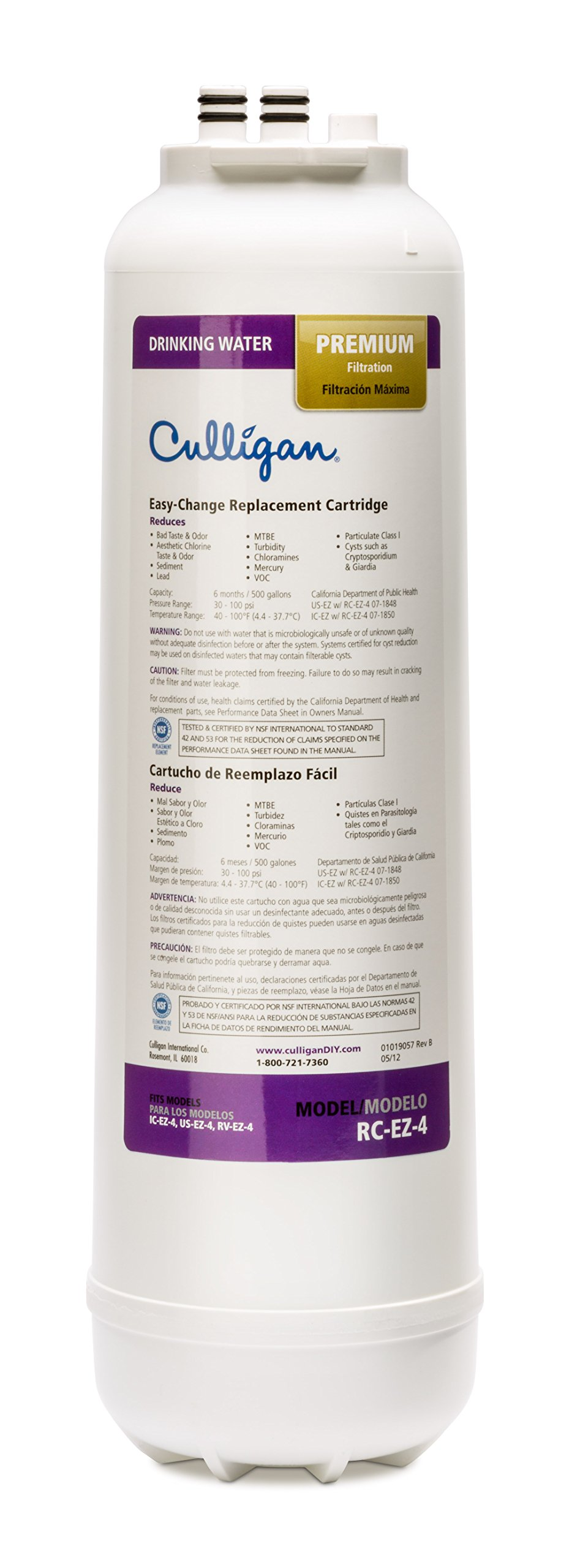 Culligan RC 4 EZ-Change Premium Water Filtration Replacement Cartridge, 500 Gallons, White by Culligan