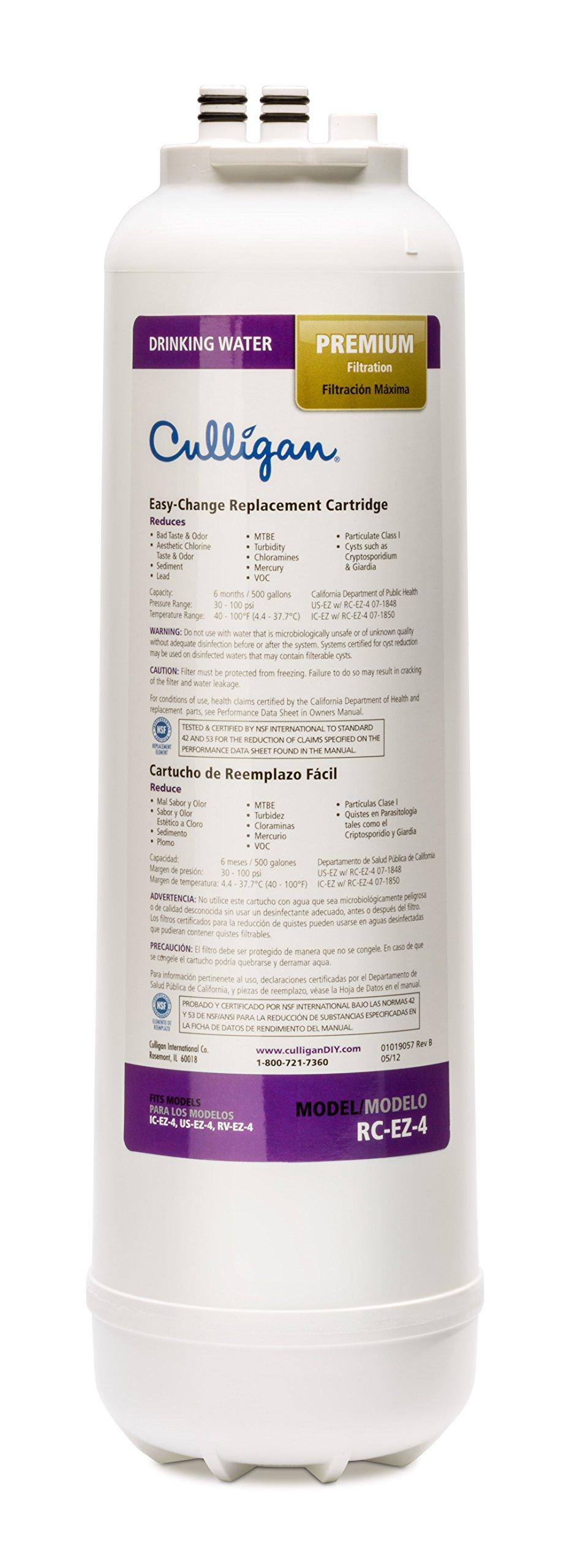 Culligan RC-EZ-4 EZ-Change Premium Water Filtration Replacement Cartridge, 500 Gallons