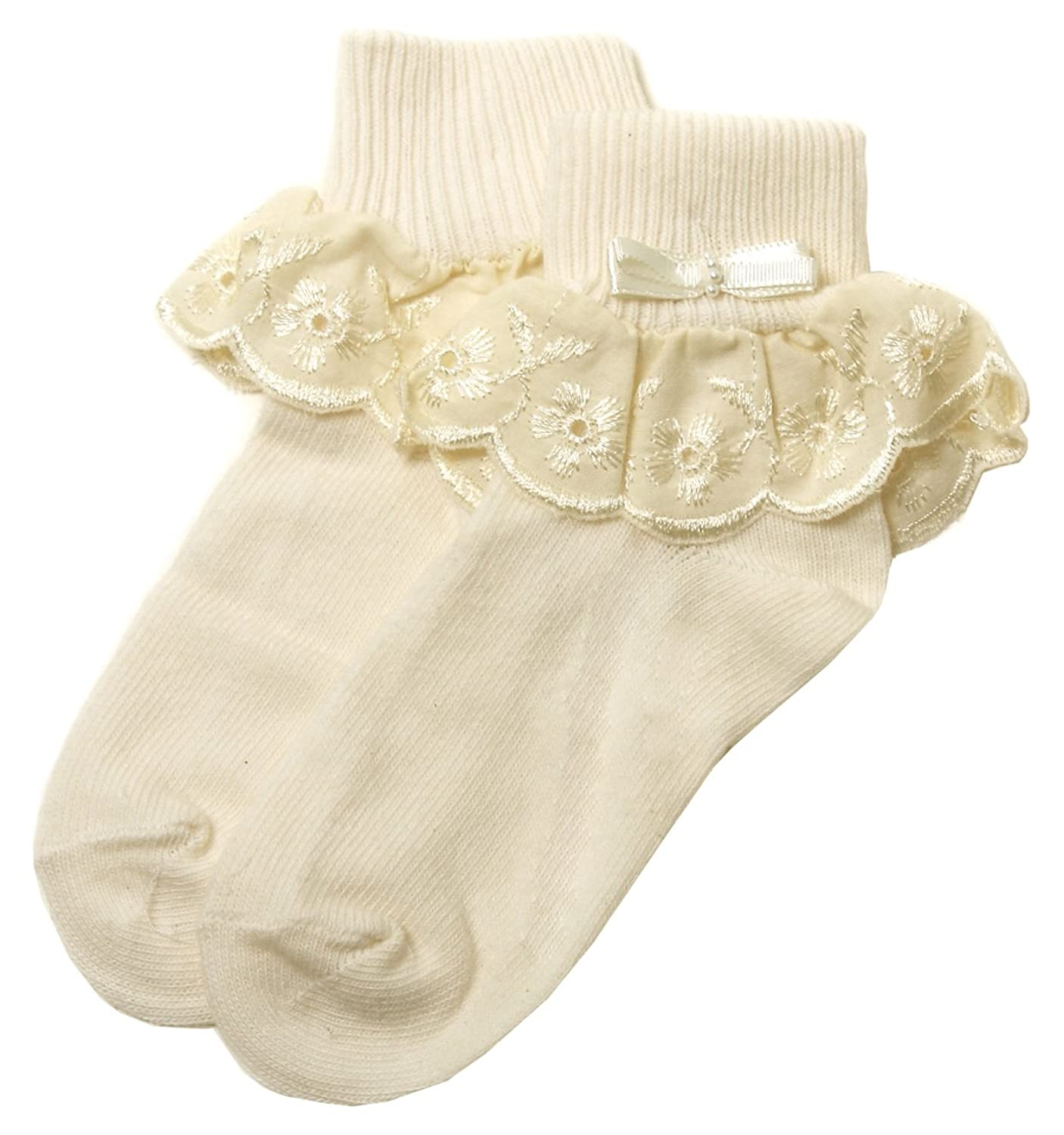 Ivory Frilly Socks Ivory Embroidered Flowers Lace For Baby And