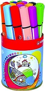Stabilo Trio Scribbi - Kit de portalápices y 16 rotuladores de colores, multicolor: Amazon.es: Oficina y papelería
