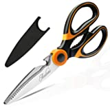 Kitchen Shears, Acelone Premium Heavy Duty Shears Ultra Sharp Stainless Steel Multi-function Kitchen Scissors for Chicken/Poultry/Fish/Meat/Vegetables/Herbs/BBQ… (Orange black)