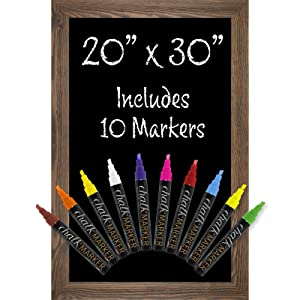 """Rustic Brown Magnetic Wall Chalkboard Sign: Includes 10 Liquid Chalk Markers 20""""x30"""" Wooden Hanging Chalk Sign for Kitchen Wall Decor, Restaurant Menu Board and Wedding Sign / Hangs in Both Directions"""
