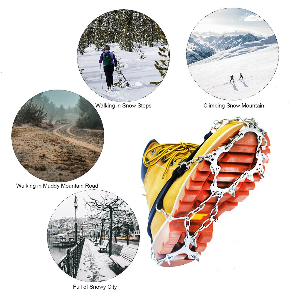 RENHAIGY Traction Ice Cleats Crampons Ice Snow Grips for Hiking Walking Climbing Fishing Jogging with Anti-Slip Microspikes Stainless Steel Spikes