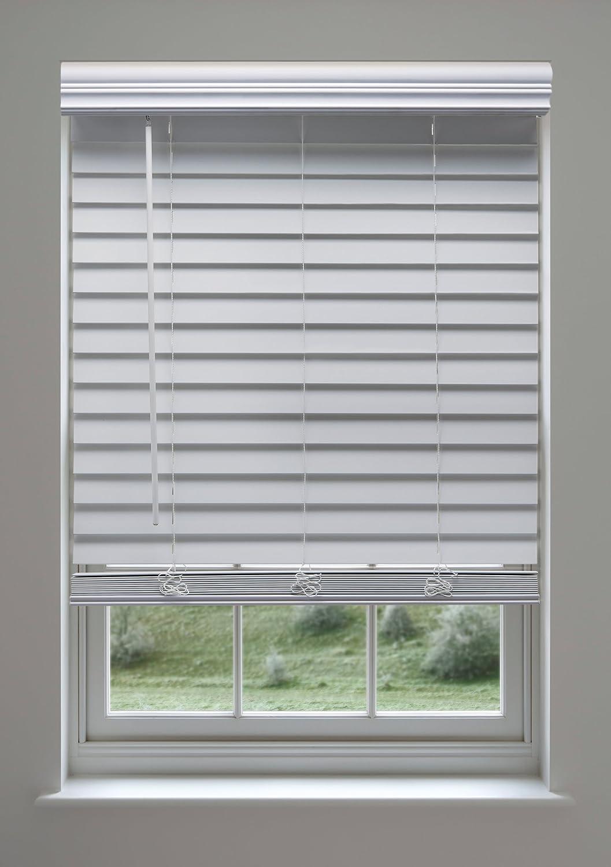 Cordless 2 Inch Faux Wood Blinds.Linen Avenue Custom Cordless Faux Wood Blind White 45 W X 36 To 40 H Outside Mount