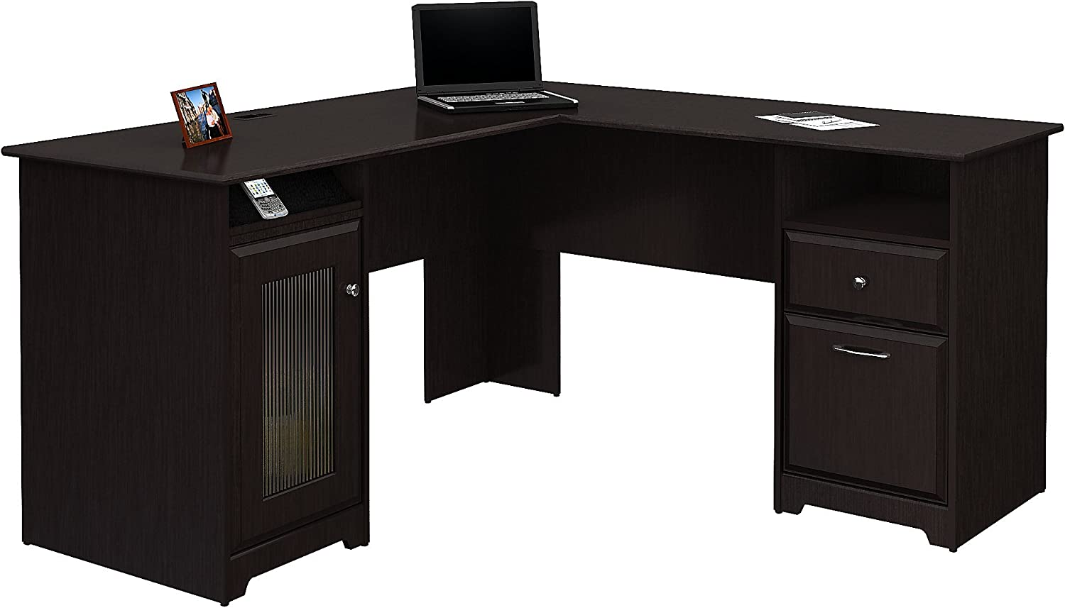 Bush Furniture Cabot L Shaped Computer Desk in Espresso Oak