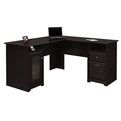 Amazoncom Bush Furniture Cabot L Shaped Computer Desk In Espresso