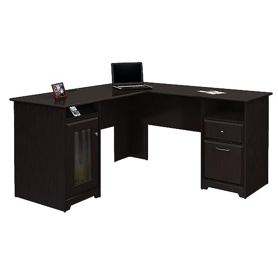 6. Bush Furniture Cabot L Shaped Espresso Oak Office Desk