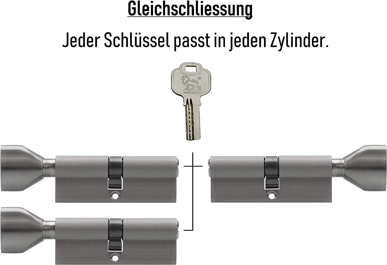 3x Knaufzylinder KSN 80 mm 40//40 gleichschlie/ßend inkl 15 Schl/üssel