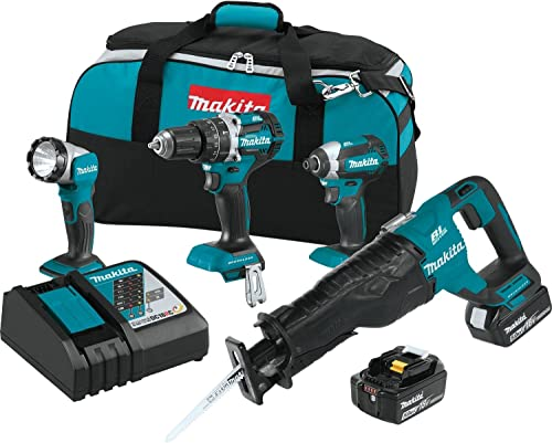 Makita XT447T 18V LXT Lithium-Ion Brushless Cordless Combo Kit 4 Piece