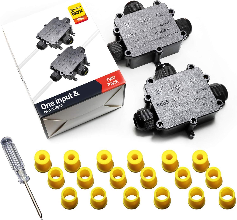 pour masquer les connexions /électriques autour de votre maison et de vos biens IP68 boite /électrique 1x Bo/îte de jonction /étanche 5 voies connecteurs bo/îte avec 4 bornes