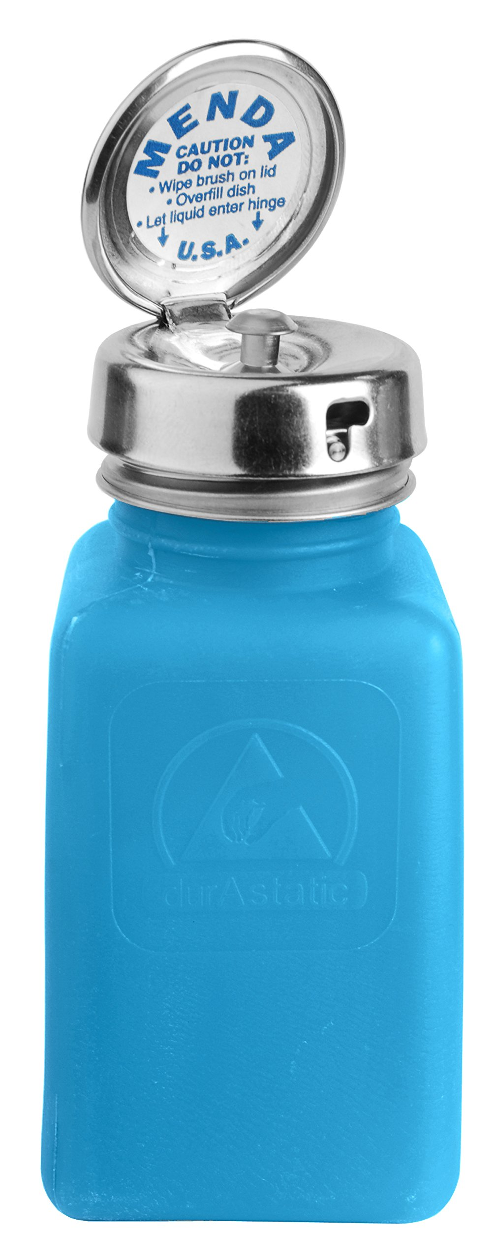 Menda 35286 Pure Take Locking Liquid Dispenser Pump Bottle, ESD Safe, 6 oz. Dissipative, HDPE/Stainless Steel, Blue