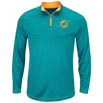 d0292a1e Majestic NFL Miami Dolphins Aqua Quarter Zip Ready & Willing Thermabase  Synthetic Jacket