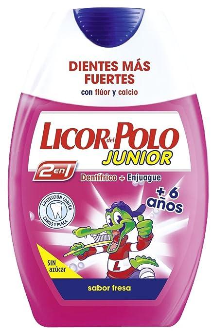 Licor del Polo Dentífrico 2en1 - Junior +6 años Sabor Fresa - Protección completa contra