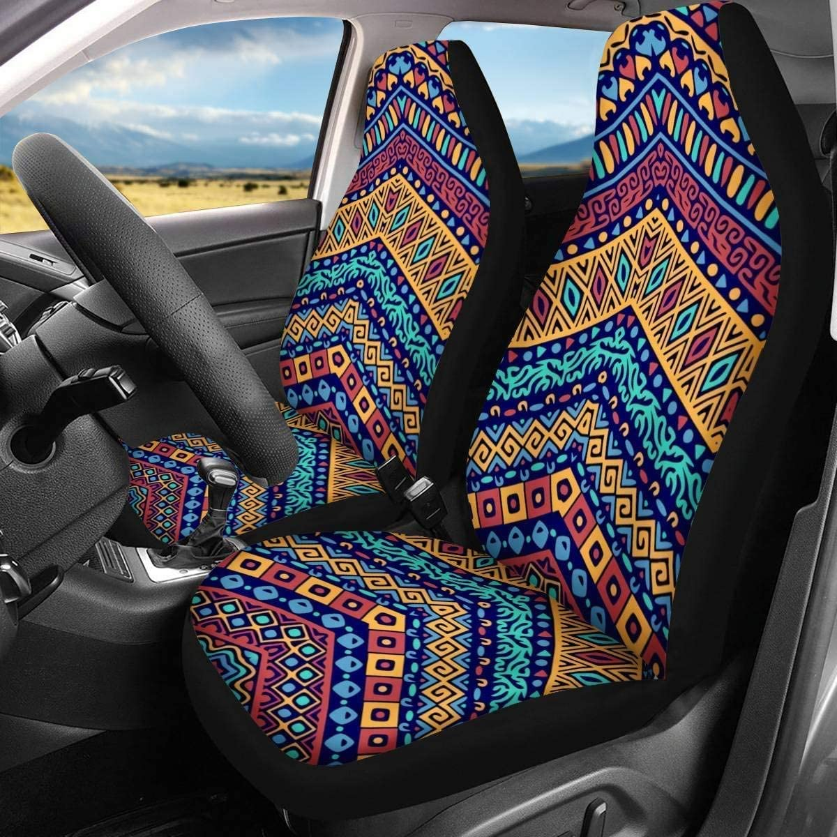 She is Life Itself Wild and Free Belidome Universal Fit 2 Pack Car Seat Covers Sunflower Black Background Design SUV Head Rest Cover Protectin