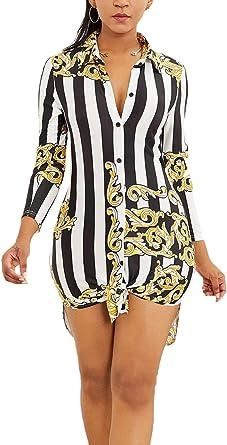 Vestidos Mujer Camicia Bluse Elegante Vintage Rayas Vestidos ...