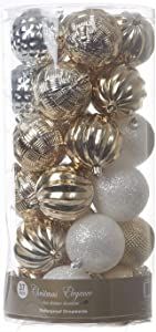 Imperial Home Decorative Christmas Ornaments - Christmas Tree Decorations - Festive Tree Decor -Multi-Style Ornament Decoration - Premium Designed Ornaments - Christmas Tree Ornaments (White/Gold)