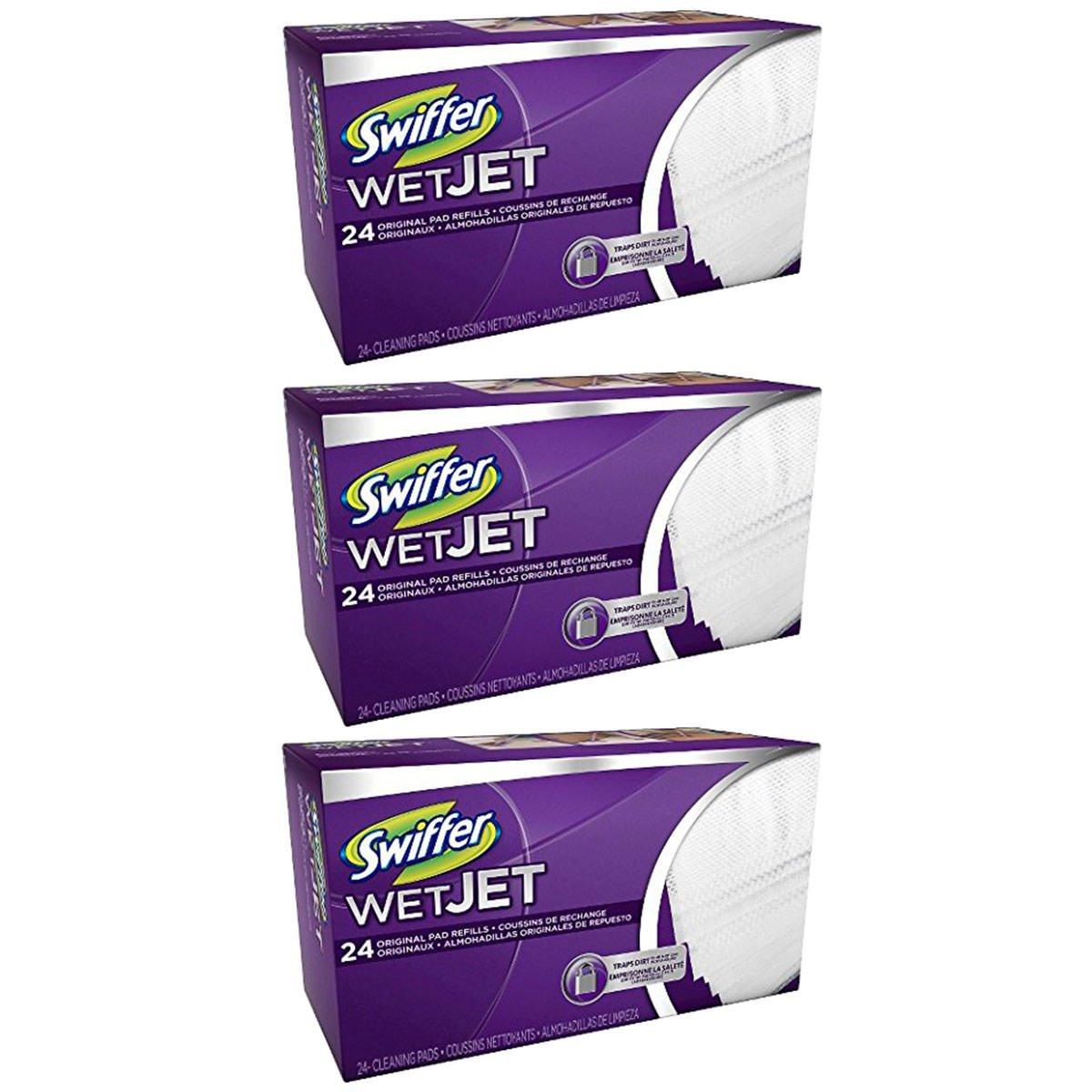 Swiffer WetJet Hardwood Floor, Wet Jet Spray Mop Pad Refills, Original Scent Refill Cloth, 3 Pack (24 Count)