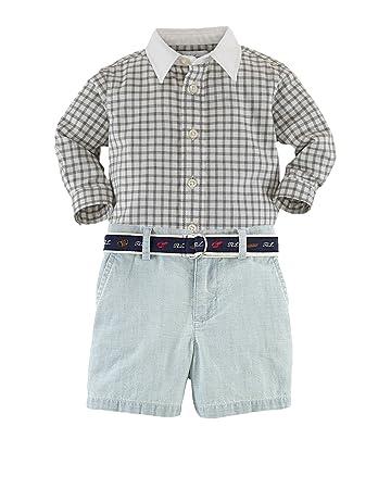 1ff7b079 Amazon.com: Ralph Lauren Polo Baby Boys Gingham Shirt & Belted ...