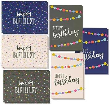 Best Paper Greetings 36 Pack Happy Birthday Note Cards Greeting 6 Handwritten Modern Style