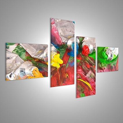 Quadri moderni Arte e colori ad olio colorato dipinge un\'immagine ...