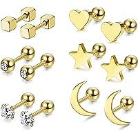 RUICHUANGS Pendientes Mujer Plata, Pendientes Piercing Oreja, Piercing Oreja Acero Quirurgico, Estrella Luna y Corazón…