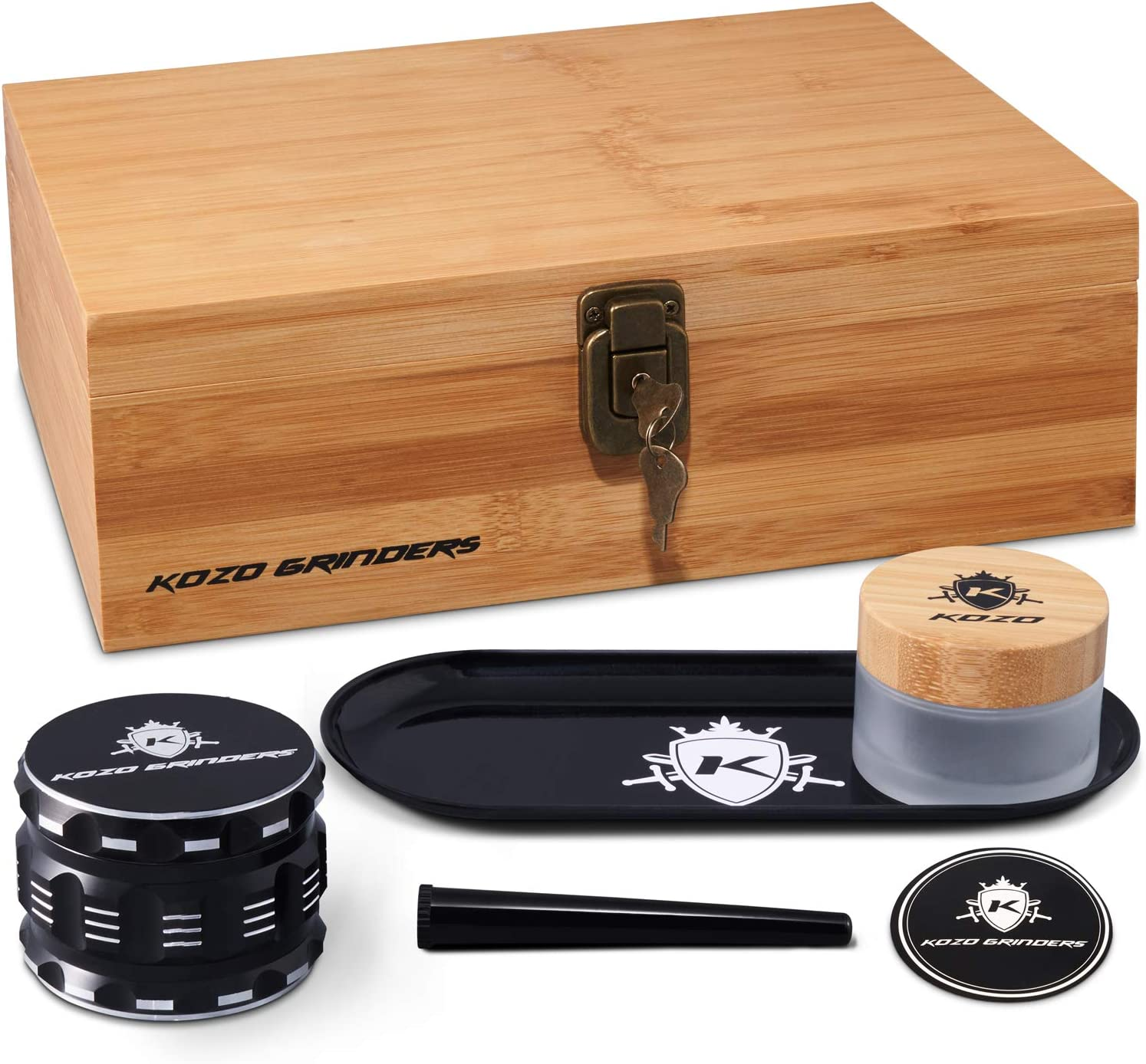 Kozo XL Wood Stash Box Kit with Rolling Tray, Locking Smell Proof Jar with Airtight Seal, Aluminium 4 Part Herb Grinder (Large-Wooden-Hinges)
