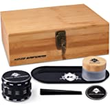 Kozo XL Wood Stash Box Kit with Rolling Tray, Locking Smell Proof Jar with Airtight Seal, Aluminium 4 Part Herb Grinder…