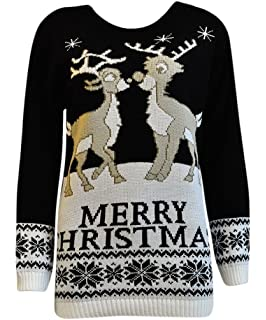 19479b1f542 Womens Xmas Jumper Ladies Reindeer Plus Size Merry Christmas Knitted Sweater  Top