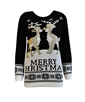 3449e292c2e7 Womens Xmas Jumper Ladies Reindeer Plus Size Merry Christmas Knitted ...