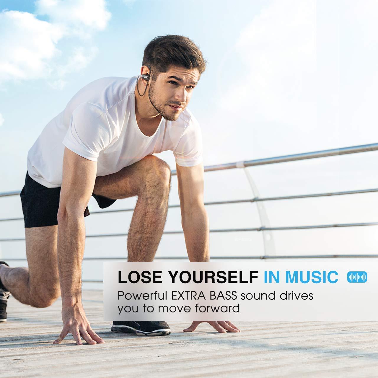 Mpow D7 Bluetooth Headphones Sport, 10H Playtime & IPX7 Waterproof Wireless Headphones Sport Earbuds W/Bass Stereo Sound, Running Headphones Bluetooth Earphones W/CVC 6.0 Noise Cancelling Mic, Black by Mpow (Image #4)
