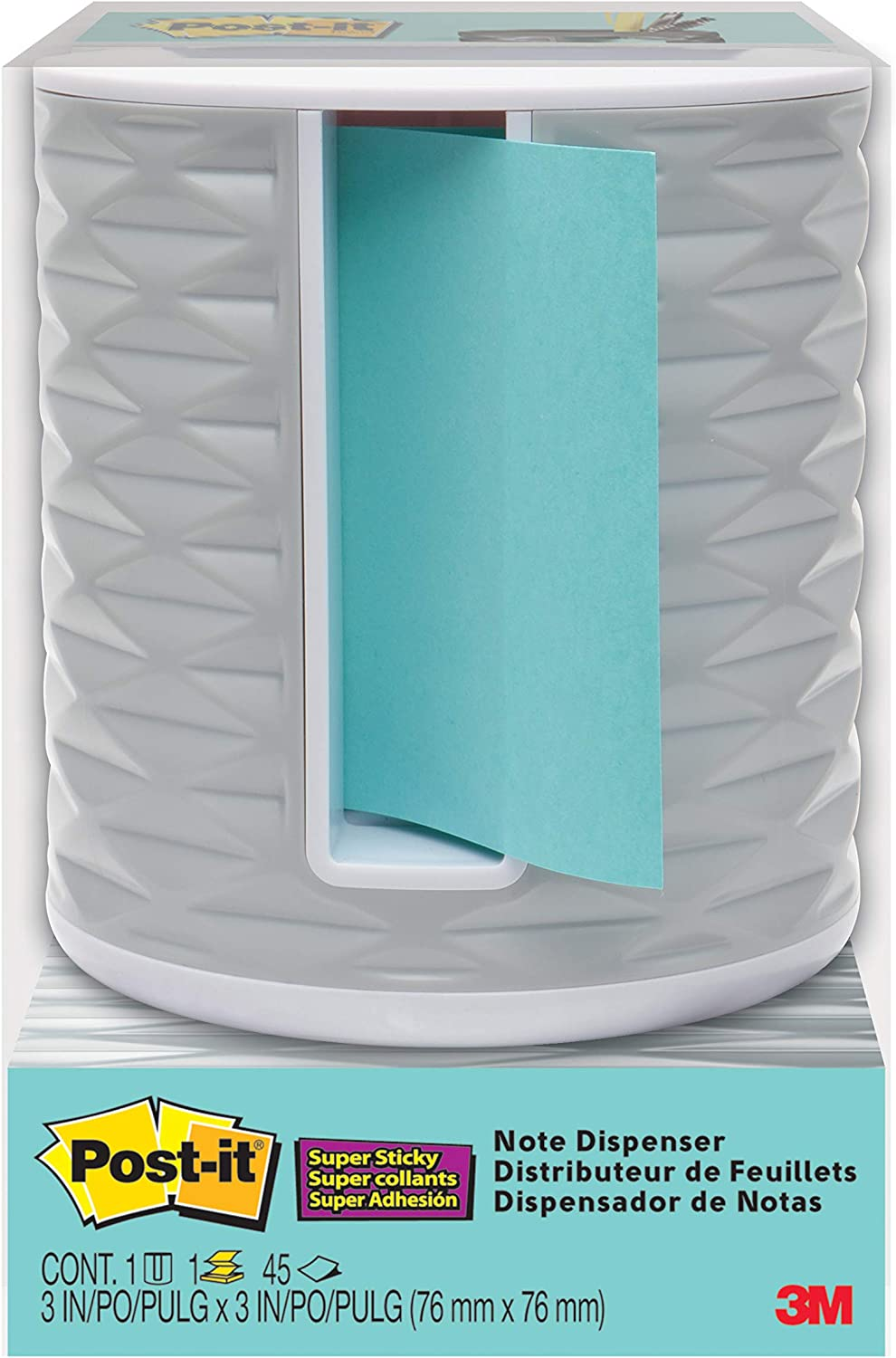 Post-it Note Dispenser, Vertical, White with Grey (ABS-330-W)
