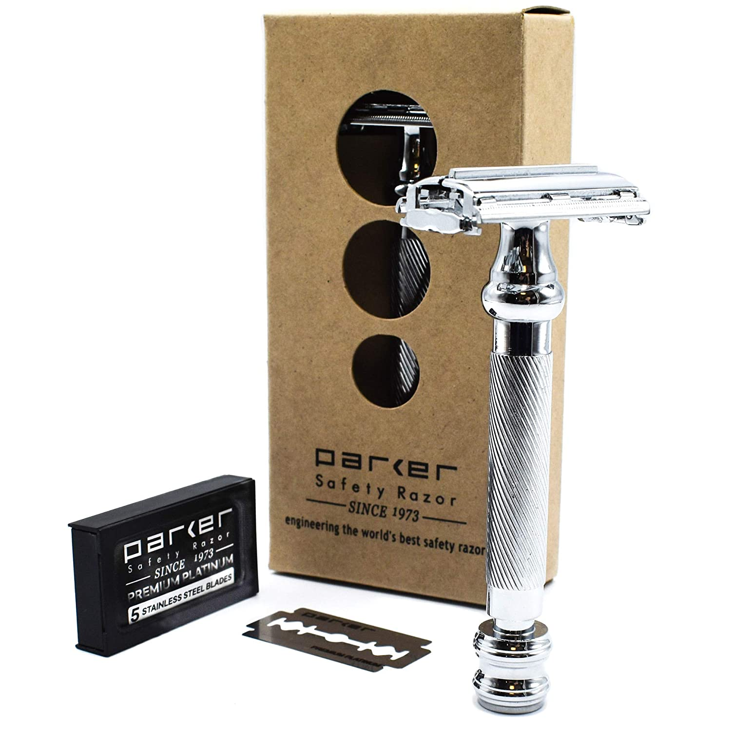 Parker 99R Long Handle Heavyweight Butterfly Open Double Edge Safety Razor