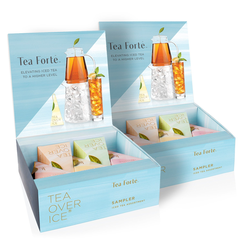 Tea Forte TEA OVER ICE Sampler, Pitcher-Size Iced Tea Infusers - Black Tea, Green Tea, Herbal Tea, White Tea, 5pk Box (Pack of 2)