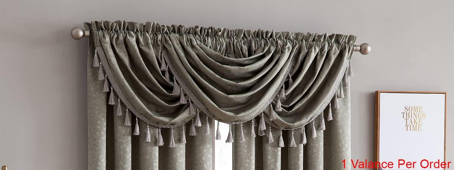 Kathryn 2-Pack Jacquard Rod Pocket Panel, Rich Texture and Elegant Leaf Design, Vibrant Colors, 100% Polyester, 54x84 Inches Per Panel, Valances Sold Separately, Grey (1-Piece Valance)