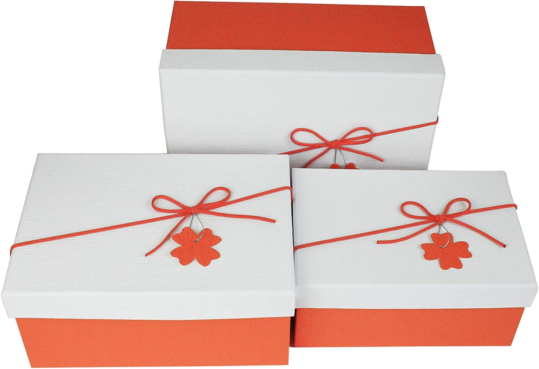 Orange Schachtel mit Wei/ßem Deckel Rosa Innenraum und Dekorativer Schleife Emartbuy Set von 3 Starrer Luxus Rechteckig Geformt Pr/äsentation Geschenkbox