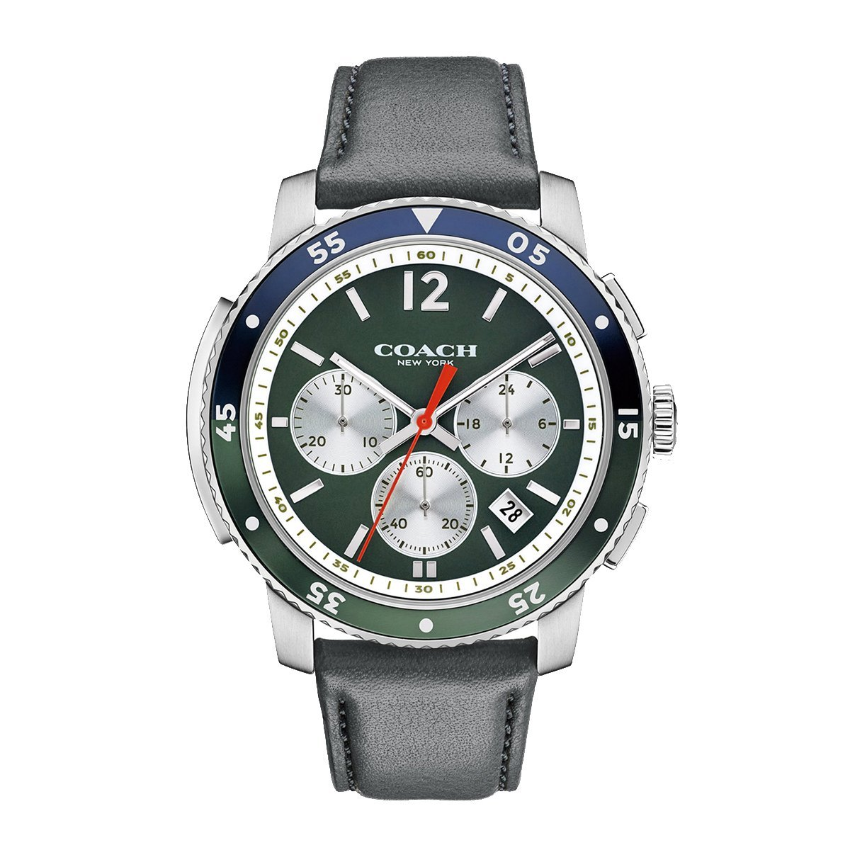 854b838340 COACH Men's Bleecker Sport Leather Surplus Green Sandblast Watch