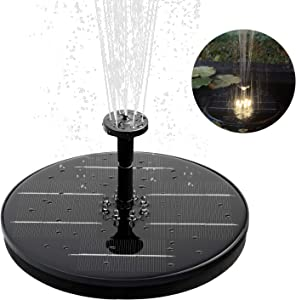NICREW Solar Water Fountain Pump with LED Lights, Free-Standing and Portable for Bird Bath, Outdoor Decoration with 4 Nozzles, Solar Powered Fountain for Patio, Garden, Backyard, and Pond