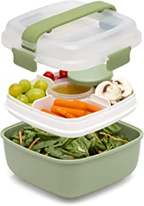 Goodful Lunch To Go Salad Container, Leak-Proof Food Storage Made without BPA, Bento Style Removeable Compartments for Sandwich, Snacks, Toppings & Dressing, 7 Cup/48 Ounces, Green