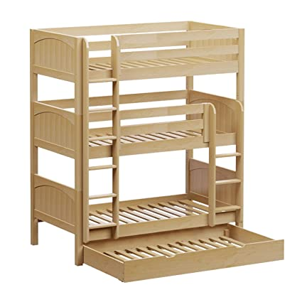 Amazon Com Maxtrix Solid Hardwood Triple Twin Size Bunk Bed With