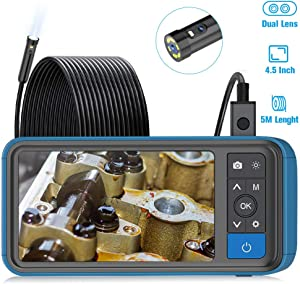 """Industrial Endoscope, ScopeAround 1080P Dual Lens Inspection Camera, 16.5ft Waterproof Borescope 4.5"""" Screen Snake Camera with 6 LED Lights,Semi-Rigid Cable, 32GB TF Card (PU Bag)"""