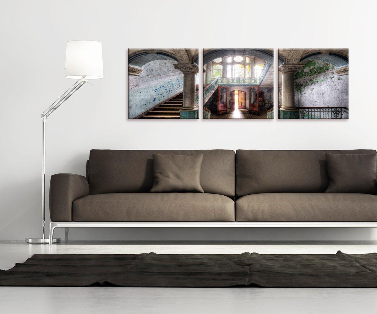 artissimo, Glasbild mehrteilig XXL, 3-teilig ca.150x50cm, AG4018A, Lost Places: Welcome, verlassener Ort, Bild aus Glas, Moderne Wanddekoration aus Glas, Wandbild Wohnzimmer modern