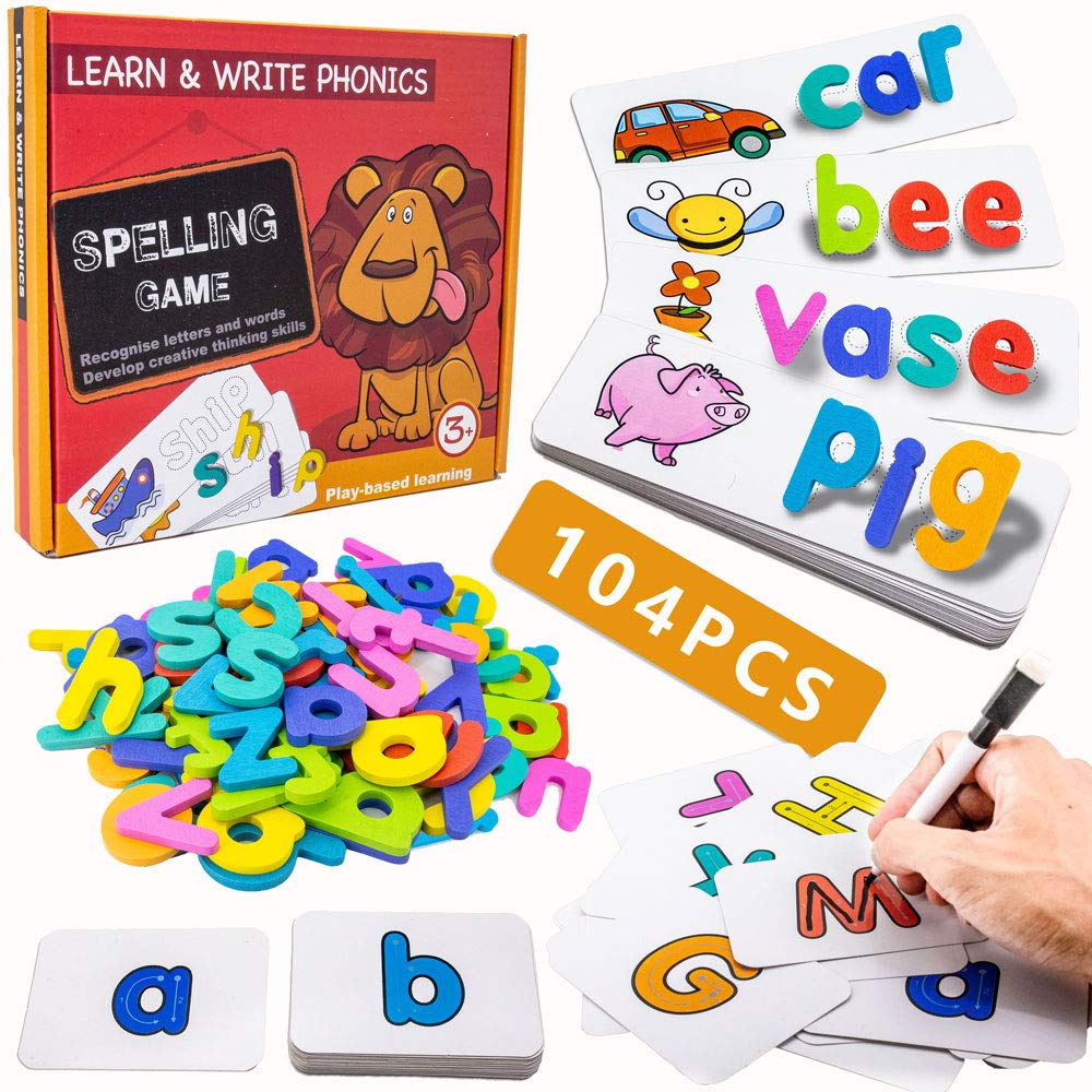 Spelling Game for Kids, See and Spell Write Learning Skills Montessori Preschool Educational Toys for Boys Girls Age 3+ Years Old