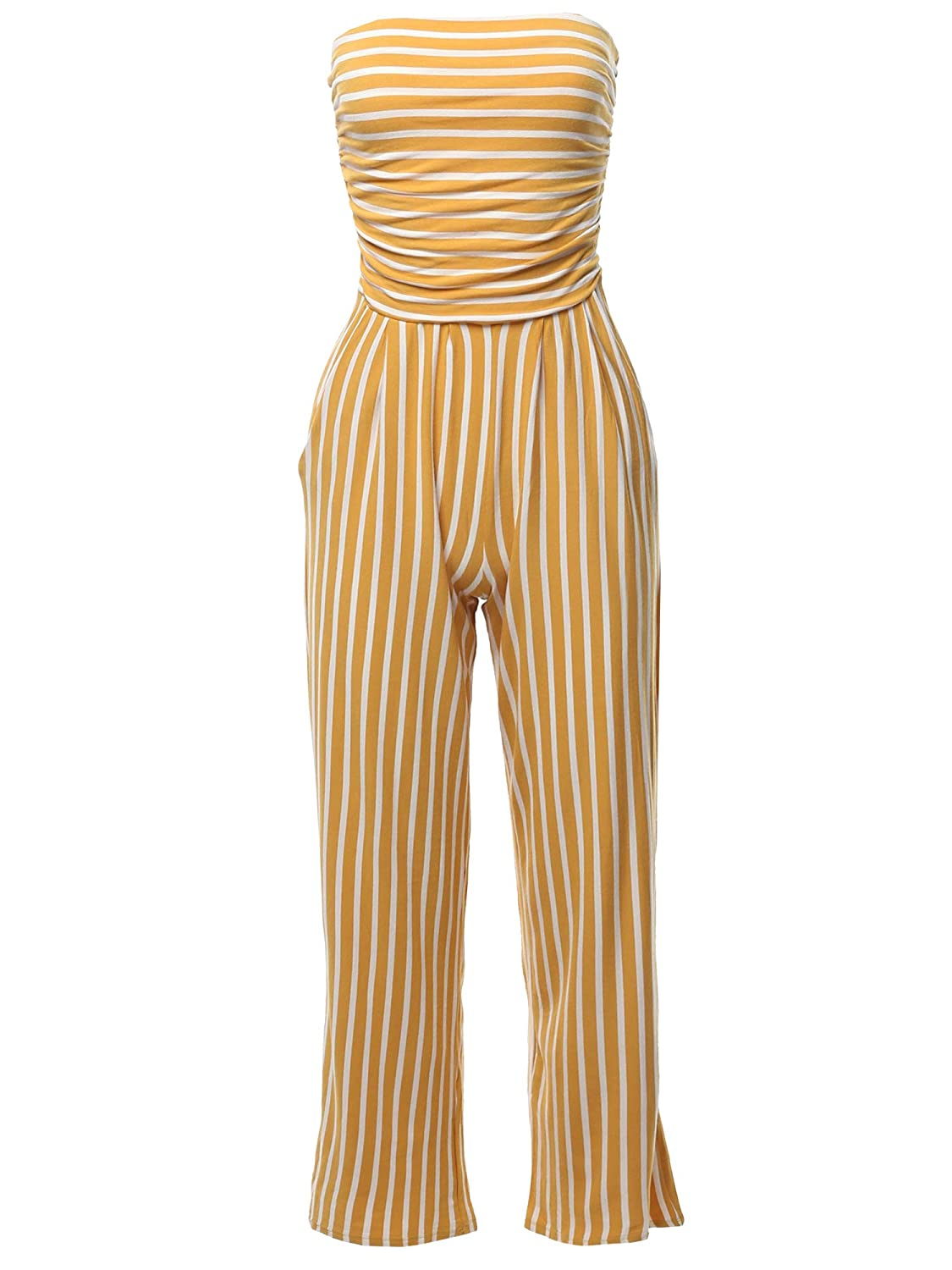 Made by Emma Womens Casual Palazzo Stripe Tube Romper Jumpsuit