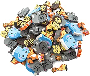 Kicko Mini Animal Erasers - Zoo Animal Erasers - 144 Pack of 1 Inch Assorted Zoo, Safari and Jungle Erasers - for Kids, Parties, Party Favors, School, Education, School Supplies and Daycare