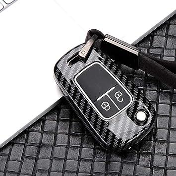 Ontto Klapp Autoschlüssel Hülle Cover Für Opel Astra J Corsa E Gt Mokka Meriva Insignia Chevrolet Schlüsselhülle Schlüsselanhänger Zinklegierung Schlüssel Etui 2 Taste Fernbedienung Kohlefaser Schwarz Auto