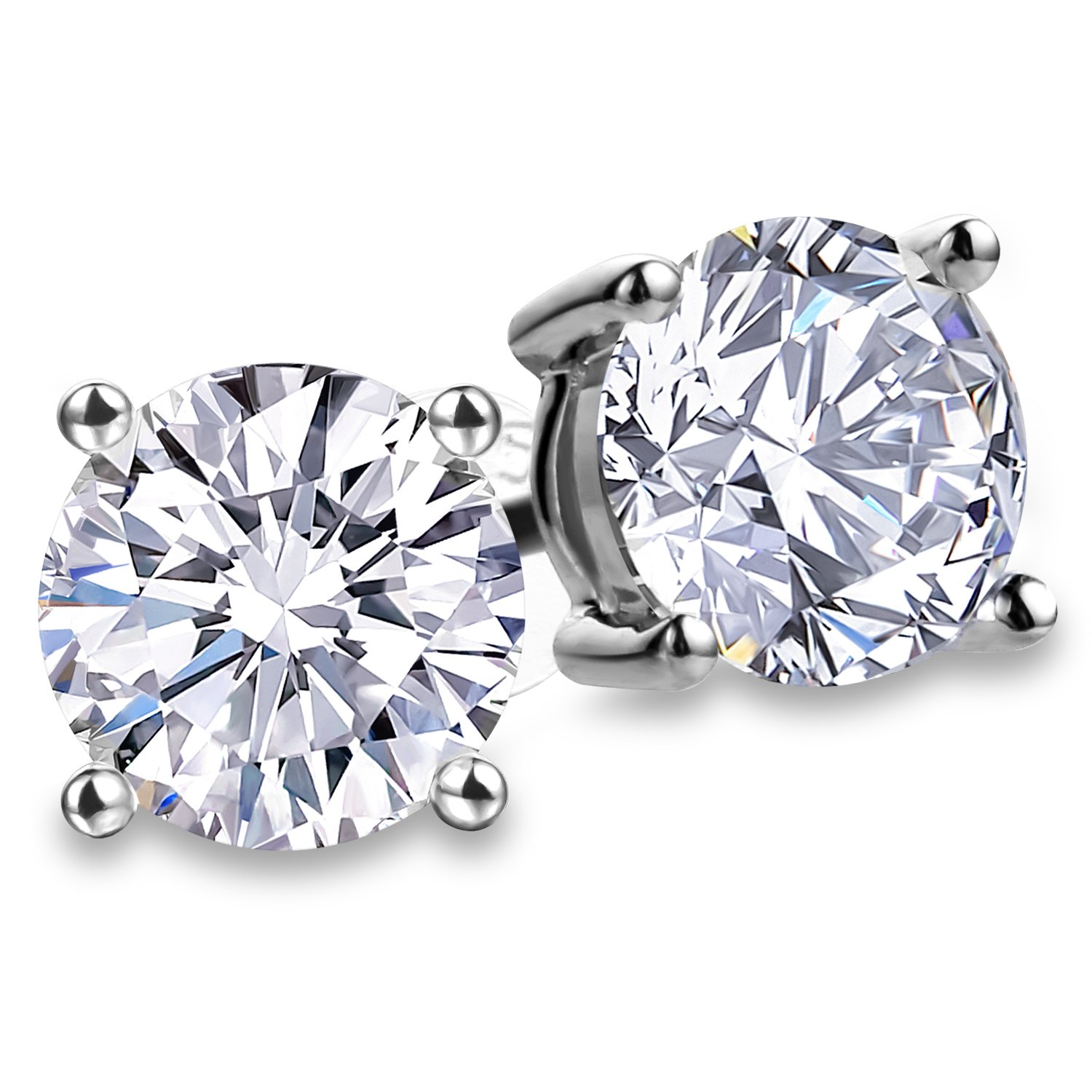 Fashion S925 Sterling Silver Cubic Zirconia Stud Earrings for Women 4 Prong Sparkling Round Pure Brilliance CZ Stud Earrings (Round Cubic Zirconia 6.5mm)