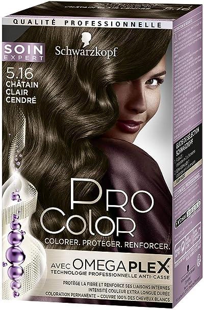 Coloración Permanente para cabello, Pro color Schwarzkopf, Castaño claro, ceniza 5.16