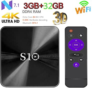 Android 7.1 OS Smart TV Box] TV Box S10 WiFi TV Box, 3GB Memoria 32 GB ROM HD TV Bluetooth 4.1 Android TV Box for 4 K (3g32g): Amazon.es: Electrónica