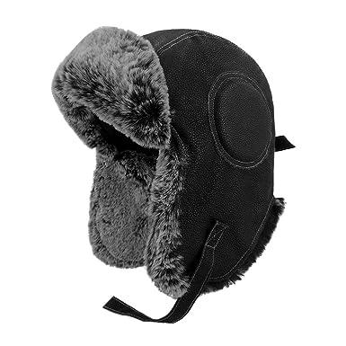823fd73f71f LETHMIK Aviator Hat Winter Ski Trapper Hat Classic Pilot Bomber Hat  Cracking Black
