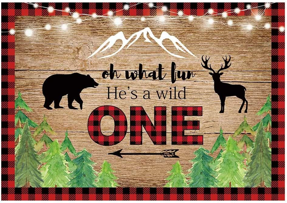 Funnytree 7x5FT Lumberjack Backdrop He's A Wild One Boys 1st Birthday Party Decor Baby Shower Bday Banner Red Black Buffalo Plaid Background Photobooth Props Supplies Favors Gifts